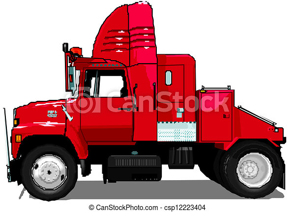 Clipart Vector of Cartoon semi truck isolated on white background ...