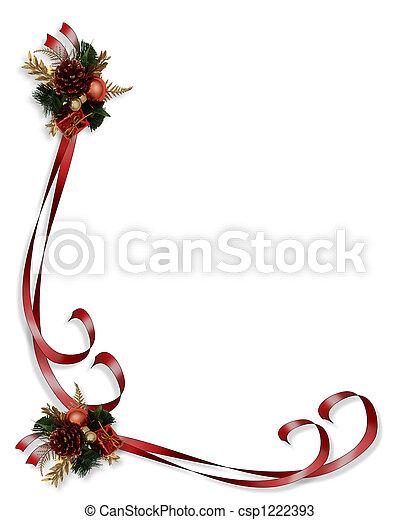 Christmas border red ribbons - csp1222393