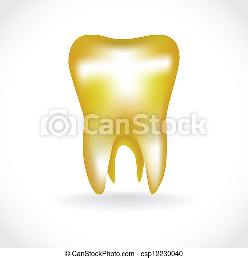 isolated golden human tooth - illustration - csp12230040