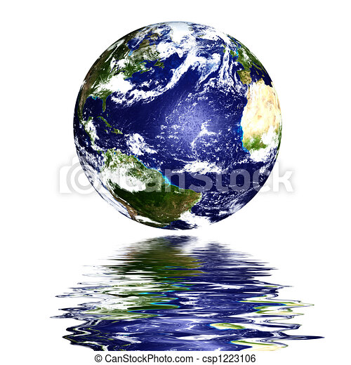 planet earth reflected on top of water - csp1223106