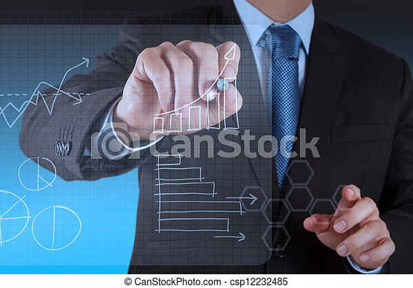 working on modern technology business - csp12232485