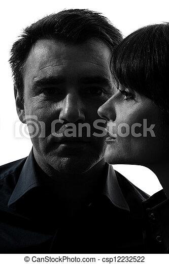 couple woman man close up portrait silhouette - csp12232522