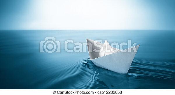紙, 小船 - csp12232653