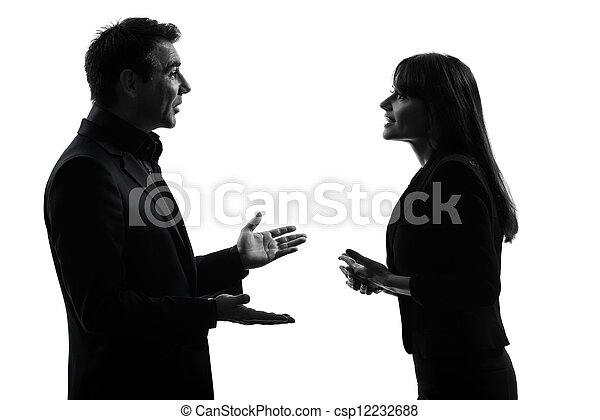 business  couple woman man silhouette - csp12232688
