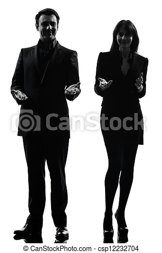 business  couple woman man silhouette - csp12232704