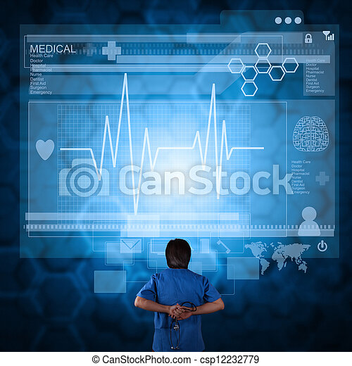 Medicine doctor working with modern computer - csp12232779