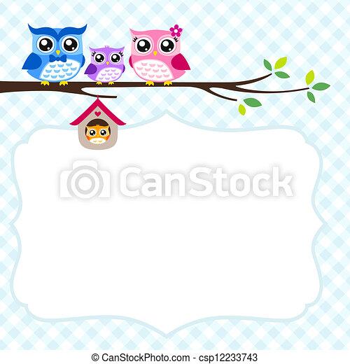 Vector - búho, familia, primavera, invitación, tarjeta ...