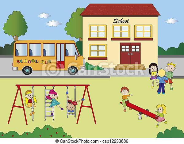 stock illustration of school illustration of school with children in playground csp12233886 playground clipart gif playground clip art free