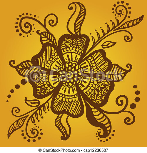 vecteur de r sum fleur henn mehndi tatouage csp12236587 recherchez des images graphiques. Black Bedroom Furniture Sets. Home Design Ideas