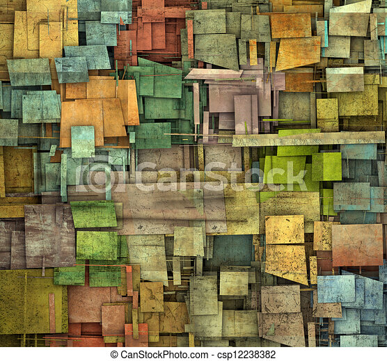 fragmented multiple color square tile grunge pattern backdrop - csp12238382