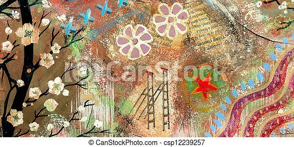 Scrapbooking grunge vintage art header - csp12239257