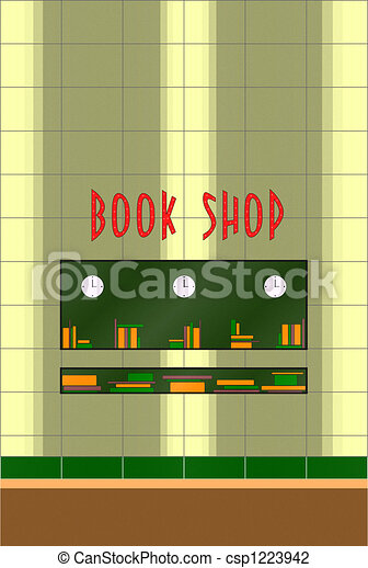 Clip Art of Book store of 50s - This is a book store facade of 50s ...
