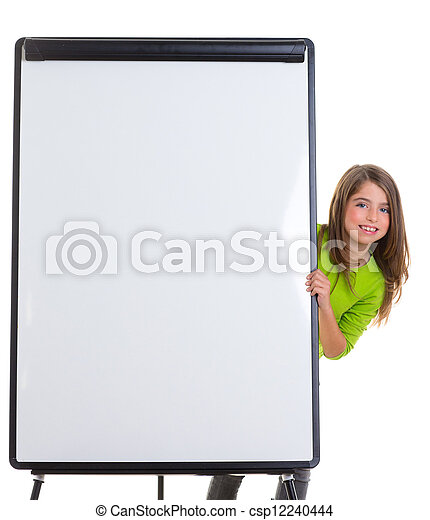 child happy girl with blank flip chart white copy space - csp12240444