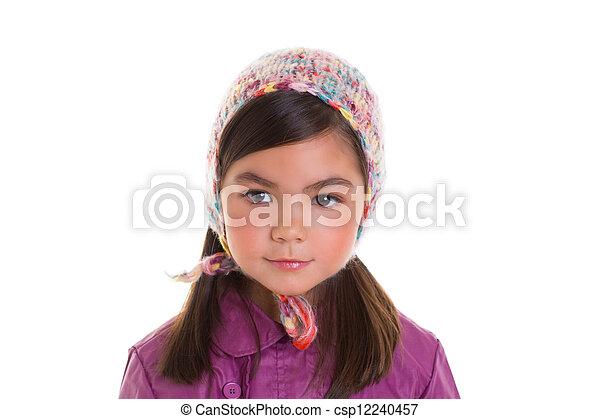 Asian child kid girl winter portrait purple coat and wool cap - csp12240457