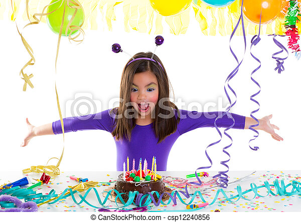 Asian child kid girl in birthday party - csp12240856
