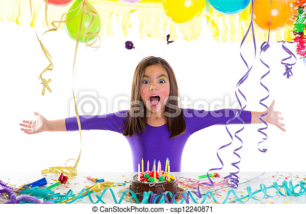 Asian child kid girl in birthday party - csp12240871