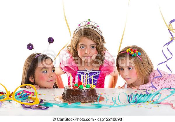 children kid girls birthday party look excited chocolate cake - csp12240898