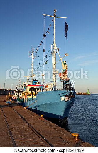Historic fishing boat in port - csp12241439