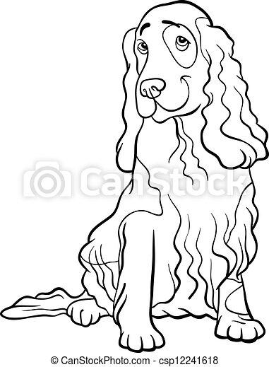 Vector Clip Art of cocker spaniel dog cartoon for coloring book ...