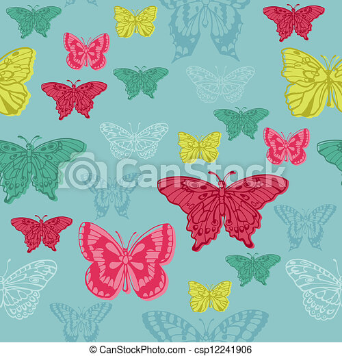 Colorful background with butterflies - for scrapbooking or design in vector - csp12241906