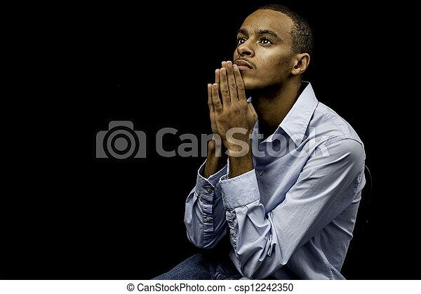nero, pregare, maschio, giovane - csp12242350