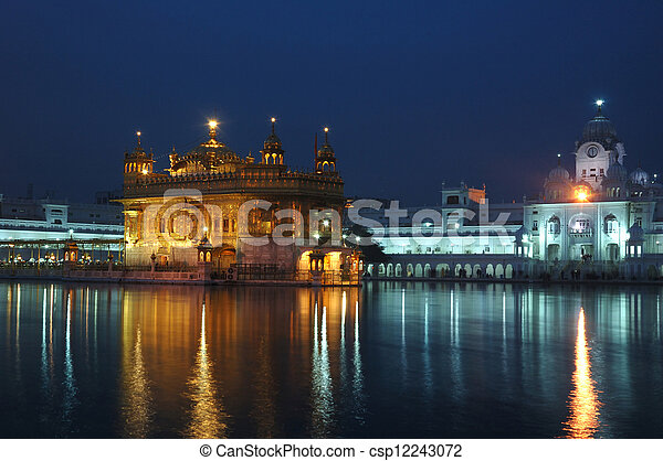 Golden Temple at night - heart of Sikh religion, Amritsar - csp12243072