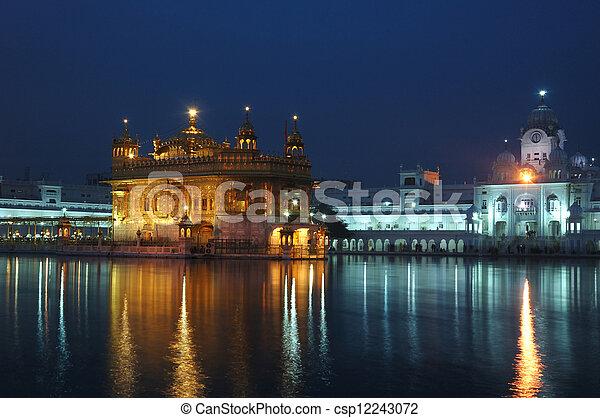 Golden Temple at night - heart of Sikh religion,Amritsar - csp12243072