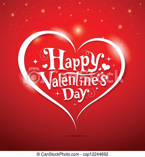 Happy Valentine's Day lettering - csp12244692