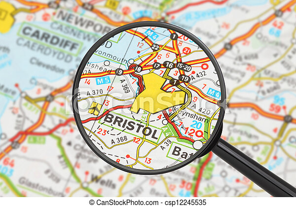 Destination - Bristol (with magnifying glass)