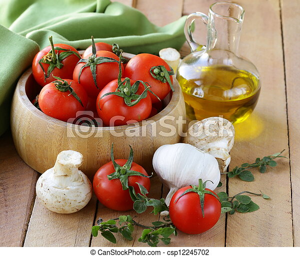 fresh vegetables and olive oil  - csp12245702