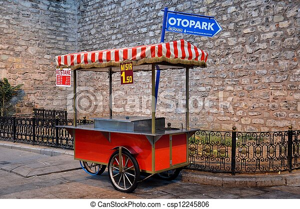 Corn and nut street cart: Istanbul