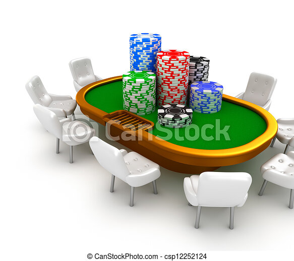 Gambling poker table with chairs - csp12252124