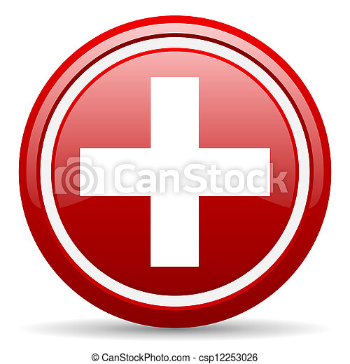 emergency red glossy icon on white background - csp12253026