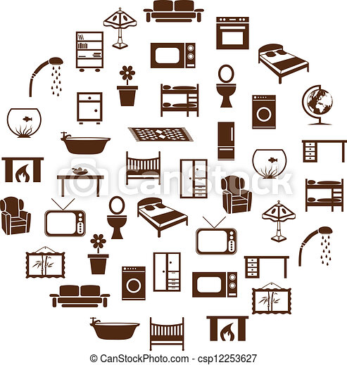 Vector Illustration Of Home Equipment Icons In Circle