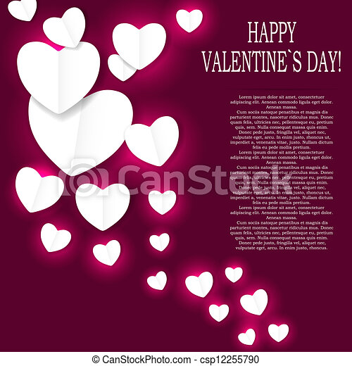 Valentines day paper heart backgroung, vector illustration - csp12255790