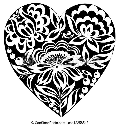 silhouette of the heart and flowers on it. Black-and-white image. Old style - csp12258543