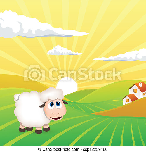 Vector Landscape with Sheep - csp12259166