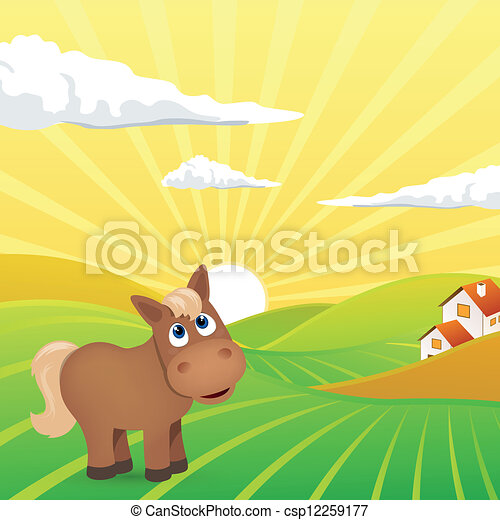 Vector Landscape with Horse - csp12259177
