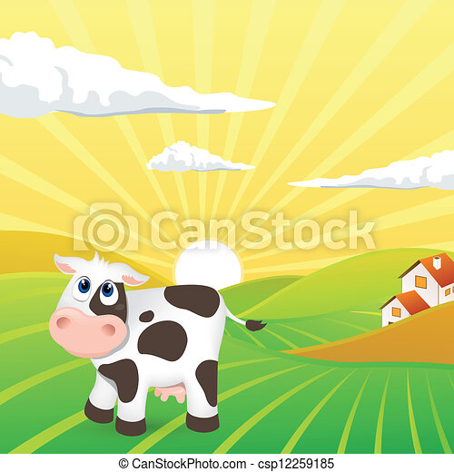 Vector Landscape with Cow - csp12259185