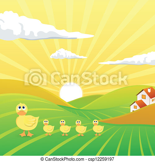 Vector Landscape with Chicks - csp12259197