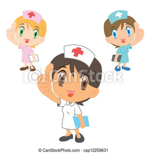 Vectores de enfermeras, pulgar, Arriba, caricatura - tres, lindo ...