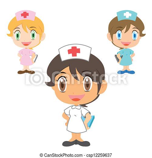 Vectores de Enfermera, caricatura, carácter - feliz, enfermeras ...