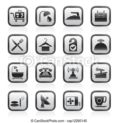 Hotel and motel icons - csp12260145