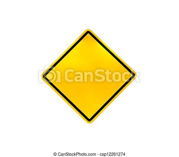 Blank yellow road warning sign - csp12261274