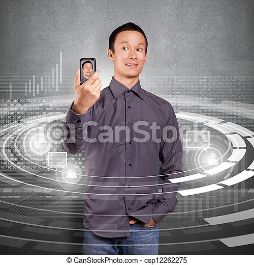 Asian Man Making An Avatar - csp12262275
