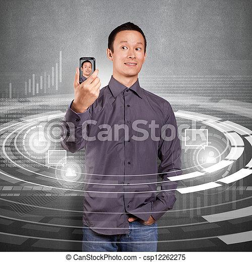 Asian Man Making An Avatar - csp12262275