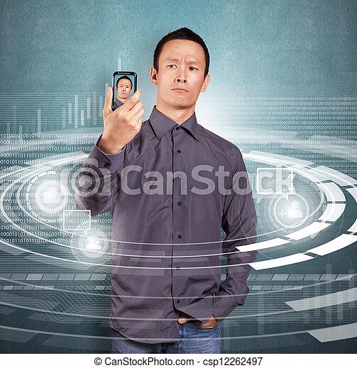 Asian Man Making An Avatar - csp12262497