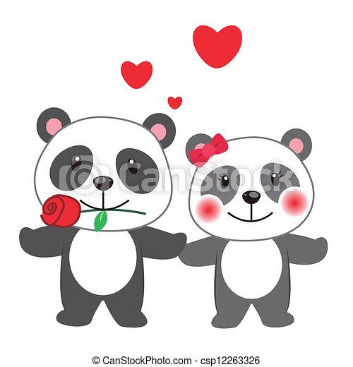 Ilustraciones de Vectores de Ilustración, par, panda, apiñado ...