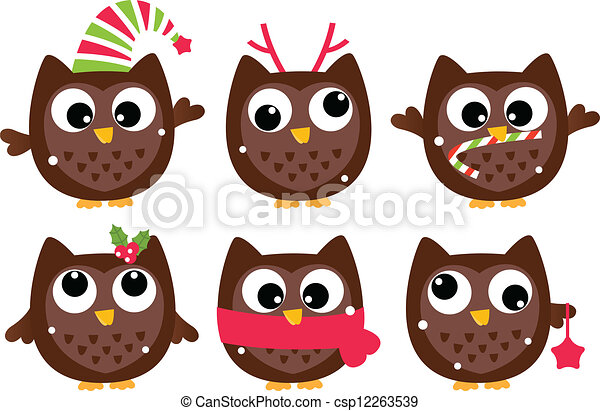 Cute Cartoon Christmas Animals Cute Cartoon Christmas Owls