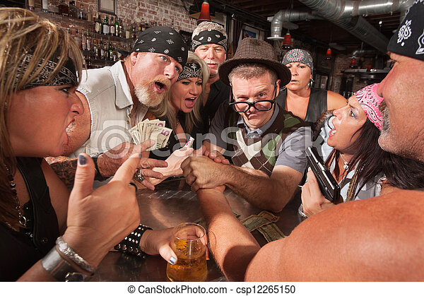 Nerd Arm Wrestling with Gambling Bikers - csp12265150